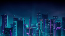 Futuristic Cityscape With Purple And Cyan Neon Lights. Night Scene With Visionary Architecture.