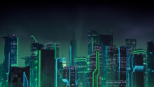 Sci-fi Metropolis With Green And Blue Neon Lights. Night Scene With Futuristic Superstructures.