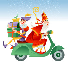 Christmas In Holland. Sinterklaas (Santa Claus) And His Helper Deliver Gifts On A Motorroller.