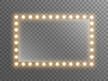 Makeup Mirror With Light. Dressing Mirror With Bright Bulbs. Rectangle Glass With Reflection For Poster, Brochure Or Web. Illuminated Frame On Transparent Backdrop. Vector Illustration