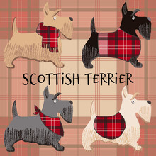 A Cartoon Vector Illustration Of Scottish Terrier, Cute Puppies. Dog Character.
