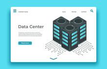 Data Center Landing Page. Isometric Servers Vector Design