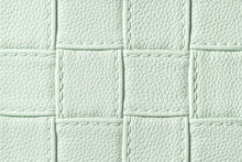Texture Of Light Green Leather Background With Square Pattern And Stitch, Macro.