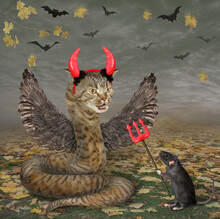 A Beige Cat Snake With Wings In Red Horns Is Near A Black Rat With A Devil Trident In The Forest For Halloween.