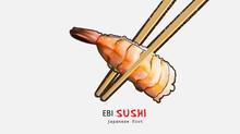 Ebi Sushi. Japanese Traditional Food . Realistic Vector Illustration .
