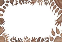 Hand Drawing Brown Watercolor Abstract Forest Animals Paws Horizontal Frame With Copy Space. Use For Poster, Card, Print, Postcard, Template, Invitation, Children's Book