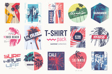 Collection Of Fourteen Colorful Vector T-shirt Summer Designs, Prints, Illustrations