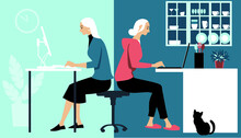 Woman In Hybrid Work Place Sharing Her Time Between An Office And Working From Home Remotely, EPS 8 Vector Illustration