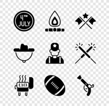Set Calendar With Date July 4, Campfire, American Flag, Barbecue Grill, Football Ball, Vintage Pistols, Western Cowboy Hat And Sheriff Icon. Vector