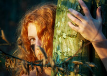 Portrait Of Beautiful Sexy Young Woman, Redhead Hugging Tree Trunk In Forest With Friendly Smile In The Face, Forest Bathing, Shinrin-yoku