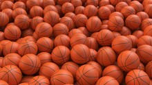 Basketball Balls Background. Many Orange Basketball Balls With Realistic Dimple Texture Lying In A Pile. 3d Rendering