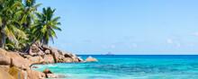 Beach Panorama With Palm Trees, Praslin, Seychelles