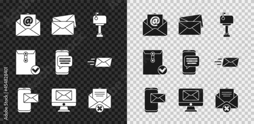 Fotografie, Obraz Set Mail and e-mail, Envelope, box, Mobile envelope, Monitor, Delete, check mark and Chat messages notification phone icon