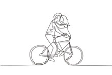 Single Continuous Line Drawing Active Couple Riding On Bike Together. Happy Enamored Man And Woman Cyclist Hugging Feeling Love. Smiling People Enjoying Outdoors Activity. One Line Draw Graphic Vector