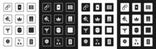 Set Laptop And Slot Machine, King Playing Card, Stick For Chips, Handcuffs, Casino Dealer, Playing With Heart, Game Dice And Martini Glass Icon. Vector
