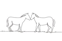 Single Continuous Line Drawing Two Horses Walks Gracefully Face To Face. Wild Mustang Gallops In Free Nature. Animal Mascot For Horse Ranch. Dynamic One Line Draw Graphic Design Vector Illustration