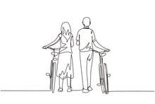 Single Continuous Line Drawing Rear View Couple Man And Woman Walking Together With Bicycle. Young Boy And Girl In Love. Happy Romantic Married Couple. One Line Draw Graphic Design Vector Illustration