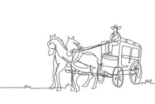 Continuous One Line Drawing Old Wild West Horse-drawn Carriage With Coach. Vintage Western Stagecoach With Horses. Wild West Covered Wagons In Desert. Single Line Design Vector Graphic Illustration