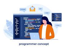 Programmer Concept, Web Development. Programming Languages. Css, Html, It, Ui. Developing Website, Coding. Flat Illustration Banner