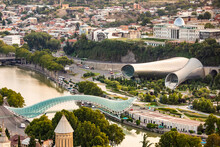 Scenic Panoramic View Of Tbilisi Presidential Palace Concert Hall And Bridge Of Peace