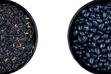 Balck Venus Rice (Oryza Sativa) And Blck Bean (Phaseolus Vulgaris) Isolated On White Backgrouns In Brazil