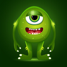Green One-eyed Monster On A Green Background. Vector