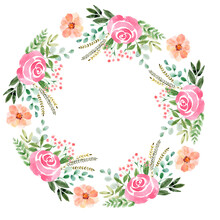 Watercolor Wreath With Flowers, Festive Bouquets And Individual Elements Of Bouquets