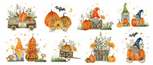 Watercolor Set Gnomes, Pumpkins, Happy Halloween Holiday, Hello Autumn, Isolated Elements On A White Background.