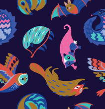 Seamless Pattern With Nocturnal Animals. Vector Illustration