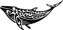 Humpback Whale Tattoo Tribal Stylised Maori Design. Polynesian Simple Vector Illustration.