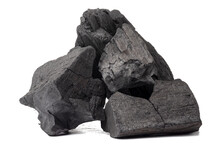 Natural Wood Charcoal, Traditional Charcoal Or Non Smoke And Odorless Charcoal Hard Wood Charcoal Isolated On White Background.