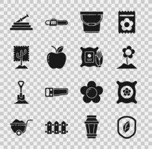 Set Shield With Leaf, Pack Full Of Seeds Of Plant, Flower, Bucket, Apple, Tree, Garden Hose Or Fire Hose And Corn In The Sack Icon. Vector