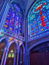 Beautiful Stained Glass Windows, Interior Of The Basilica Of Pontmain, Northern France.