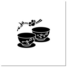 Japanese Tea Cups Glyph Icon. Ceremony Two Teacups With Sakura Pictures. Unique Handmade Ware. Tea Ritual Concept.Filled Flat Sign. Isolated Silhouette Vector Illustration