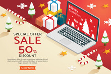 Christmas Shopping Online On Laptop.