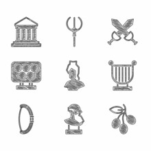 Set Ancient Bust Sculpture, Olives Branch, Lyre, Medieval Bow, Olympic Rings, Crossed Medieval Sword And Parthenon Icon. Vector