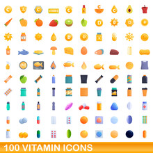 100 Vitamin Icons Set. Cartoon Illustration Of 100 Vitamin Icons Vector Set Isolated On White Background