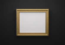 The Bronze Color Picture Horizontal Frame On Black Wall With Textured Blank Canvas, 3D Mockup