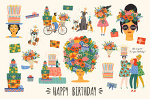Happy Birthday. Vector Set Of Cute Illustrations. Bright Compositions For Card, Poster, Flyer, Banner And Other