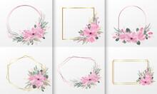 Set Of The Watercolor Floral Rose Frame For Wedding Monogram Logo,