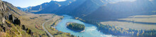 Autumn Panoramic View Of The Turquoise Katun River And Altai Mountains. Che-Chkysh, Altai Republic, Russia.