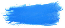 Acrylic Stain Paint Brush Stroke Blue. Hand-drawn Element On A Bleached Background.