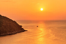 Panoramic View On Sunset Sea