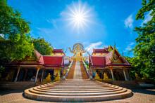Blue Sky With Cloud ,big Buddha Temple Wat Pha Yai, Bangrak ,koh Samui ,suratthani ,thailand