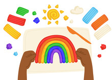 Kid Sculpts Sun, Rainbow And Cloud With Plasticine, Modelling Clay Tools, Board And Knife, Art Process, Top View. Hand Drawn Illustration In Modern Cartoon Flat Style