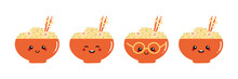 Set, Collection Of Cute Colorful Cartoon Style Bowls Of Noodles, Asian Soup Characters For Food Design.