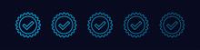Set Of Approved Icons Line Style. Blue Light Check Mark With Circle Shape Sparkle Star Sticker Label Isolated On Dark Blue Background. Flat Vector Icon Design Elements For Web Templates.