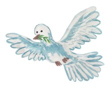 Vector Illustration Of A Flying Dove With A Twig In Its Beak. Cartoon Freehand Drawing Of A Bird With Outstretched Wings Stylized As A Watercolor