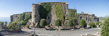 Extra Wide View Of The Castle Of Cervo With A Beautiful Climbing Ivy On The Facade