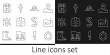 Set Line Lifebuoy, Fishing Hook With Fish, Fisherman Hat, Jacket, Kayak Or Canoe, Detonate Dynamite Bomb Stick, Worm And Float Icon. Vector